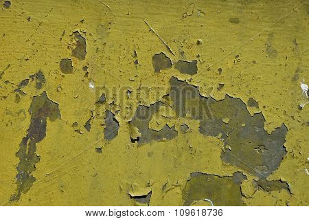 Stained Rusty Painted Metal Surface With Flakes