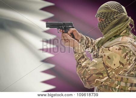 Male In Muslim Keffiyeh With Gun In Hand And National Flag On Background - Qatar