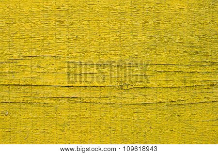 New Yellow Painted Board With Knot And Cracks