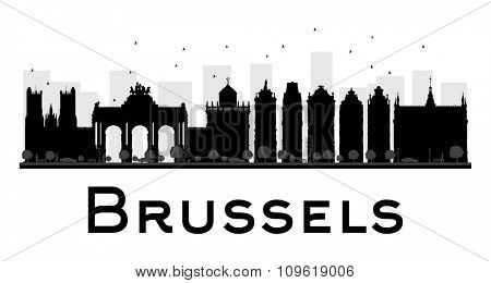 Brussels City skyline black and white silhouette. Vector illustration. Simple flat concept for tourism presentation, banner, placard or web site. Business travel concept. Cityscape with landmarks