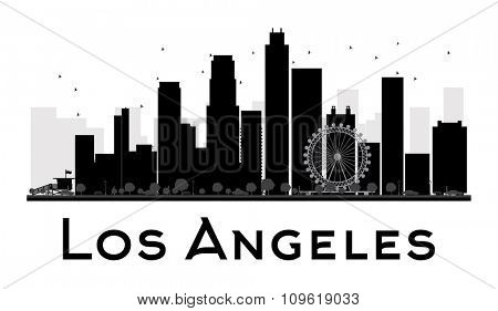 Los Angeles City skyline black and white silhouette. Vector illustration. Simple flat concept for tourism presentation, banner, placard or web site. Business travel concept. Cityscape with landmarks