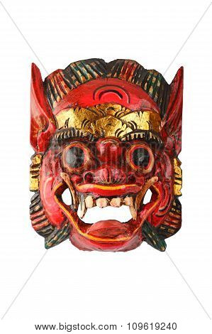 Asian Traditional Wooden Red Painted Demon Mask On White