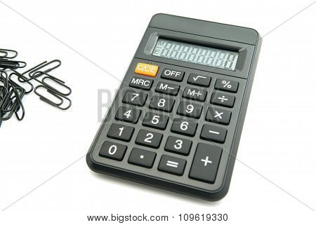 Black Office Calculator And Clips
