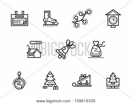 Wintertime black line vector icons set