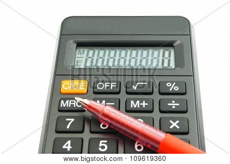 Black Office Calculator And Pen