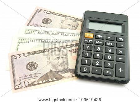 Calculator And Dollars Banknotes