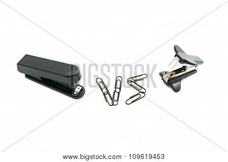Stapler And Staple Remover On White