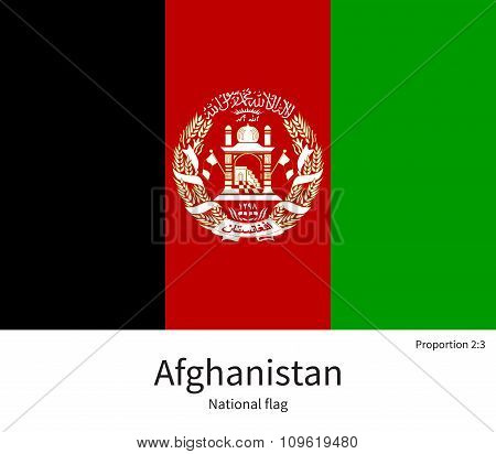 National flag of Afghanistan with correct proportions, element, colors