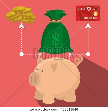 Bank, global economy and money savings