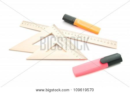 Markers And Wooden Ruler
