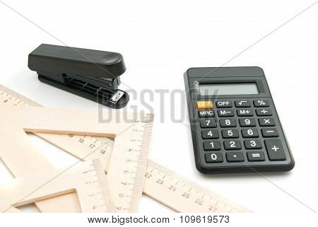 Stapler, Ruler And Calculator