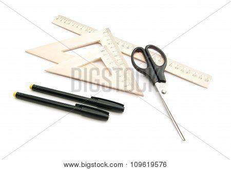 Scissors, Ruler And Pens