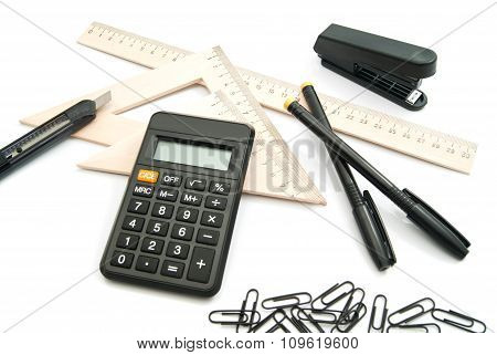 Calculator, Wooden Ruler And Other Stationery