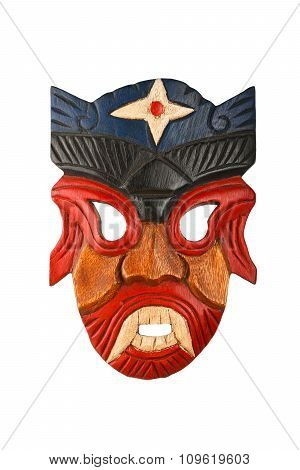 Asian Traditional Wooden Painted Mask Isolated On White
