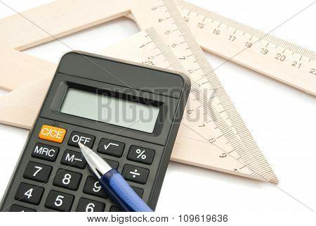 Calculator, Blue Pen And Ruler