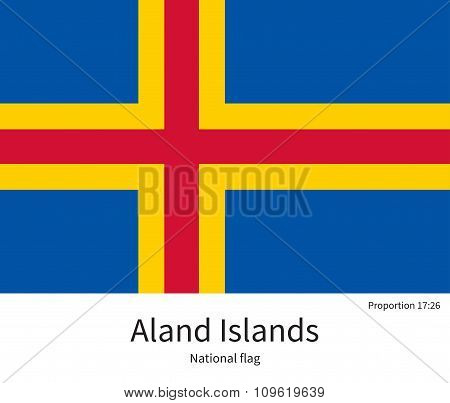 National flag of Aland Islands with correct proportions, element, colors