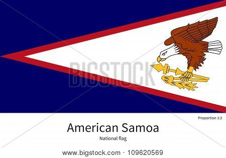 National flag of American Samoa with correct proportions, element, colors