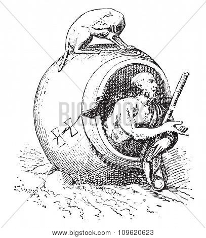 Barrel of Diogenes, vintage engraved illustration. Private life of Ancient-Antique family-1881.