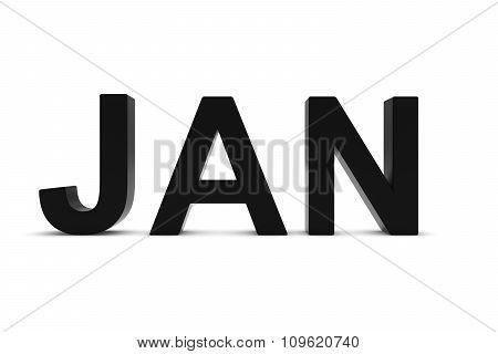 Jan Black 3D Text - January Month Abbreviation On White