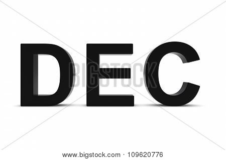 Dec Black 3D Text - December Month Abbreviation On White