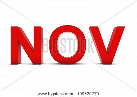 Nov Red 3D Text - November Month Abbreviation On White