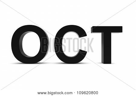 Oct Black 3D Text - October Month Abbreviation On White