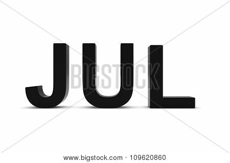 Jul Black 3D Text - July Month Abbreviation On White
