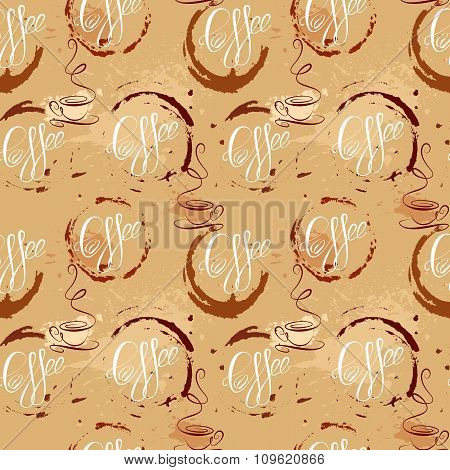 Seamless Pattern With Coffee Cups, Coffee Stain, Calligraphic Text Coffee. Background Design For Caf