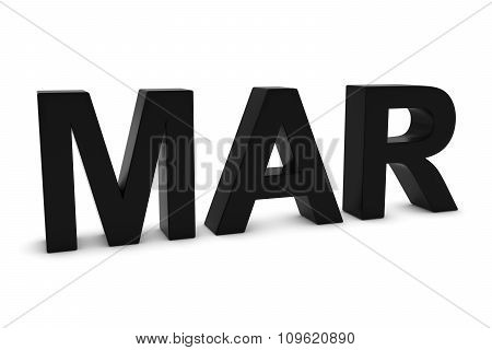 Mar Black 3D Text - March Month Abbreviation On White