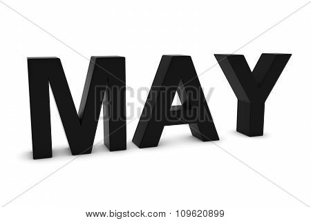 May Black 3D Text - May Month Abbreviation On White
