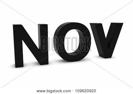 Nov Black 3D Text - November Month Abbreviation On White