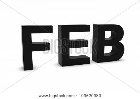 Feb Black 3D Text - February Month Abbreviation On White