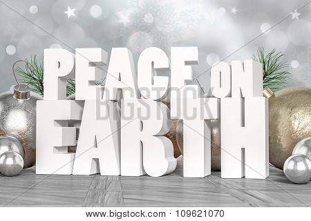 Peace On Earth 3D Text