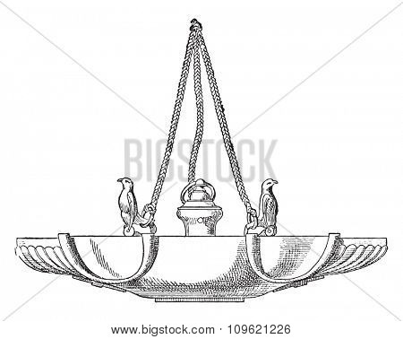Hanging Lamp, vintage engraved illustration. Private life of Ancient-Antique family-1881.
