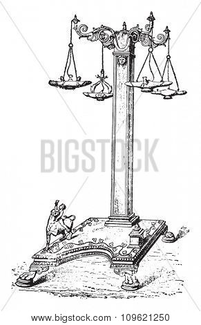 Lamppost, vintage engraved illustration. Private life of Ancient-Antique family-1881.