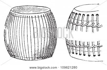 Drums, vintage engraved illustration. Private life of Ancient Antique family 1881.