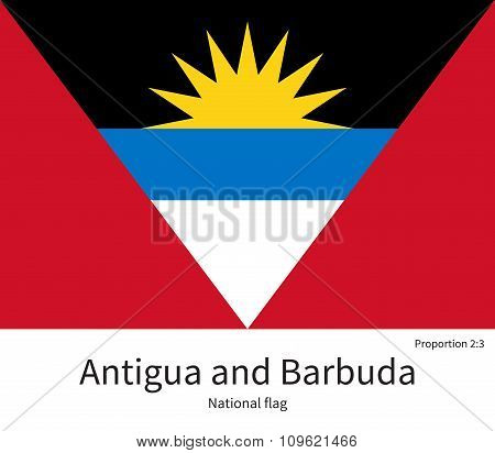 National flag of Antigua and Barbuda with correct proportions, element, colors