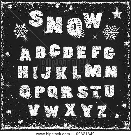 Snow alphabet on blackboard, vector abstraction illustration.