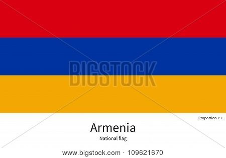 National flag of Armenia with correct proportions, element, colors
