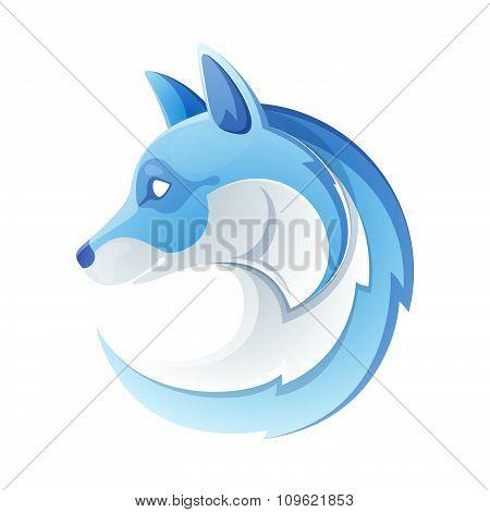 Arctic Fox Head Volume Logo. Blue On White.