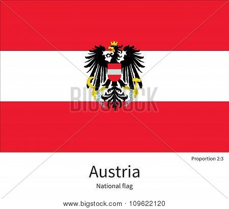 National flag of Austria with correct proportions, element, colors