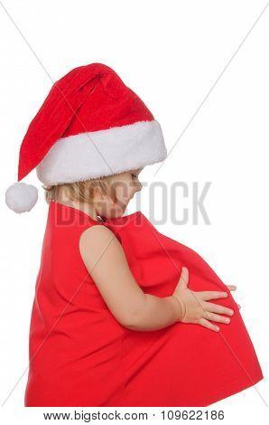 European Girl In Christmas Cap