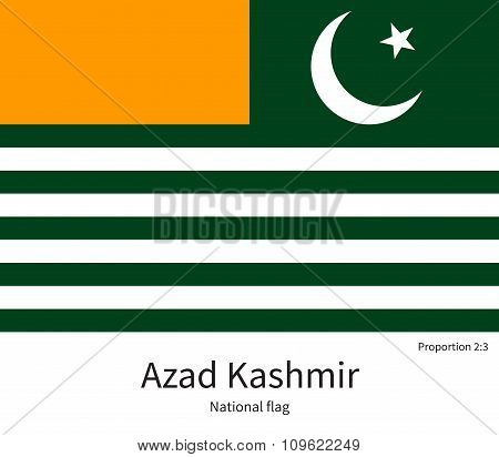 National flag of Azad Kashmir with correct proportions, element, colors