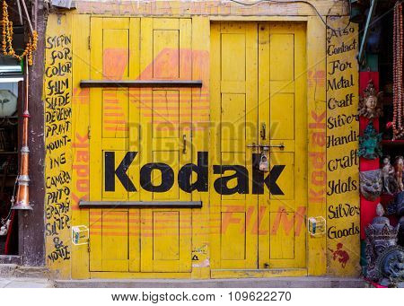 BHAKTAPUR, NEPAL - NOVEMBER 15, 2015: Kodak sign painted on a shut photography studio