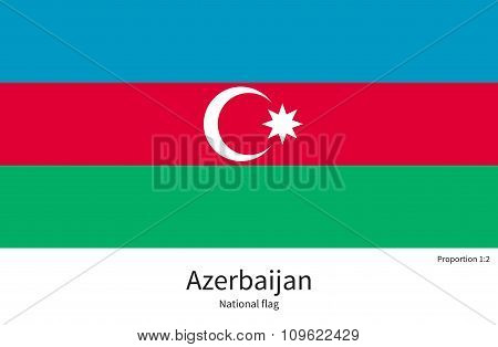 National flag of Azerbaijan with correct proportions, element, colors