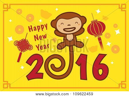 Happy Chinese new year 2016 card is  lanterns ,cute monkey money and knot