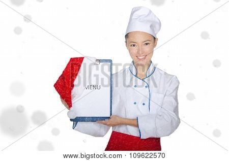 Happy Asian Chef With Christmas Menu And Cap