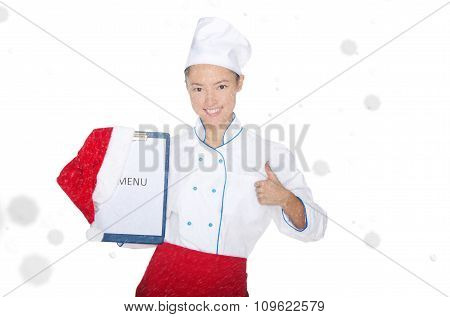 Smiling Asian Chef With Christmas Menu And Cap In Snow