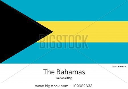National flag of Bahamas with correct proportions, element, colors