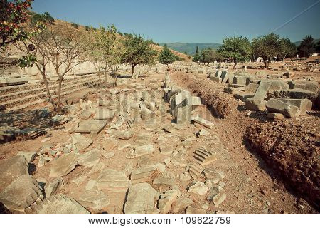 Historical Town Area With Ruined Walls Of Greek-roman City Ephesus.